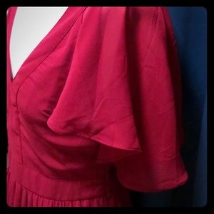Oxblood pleated dress